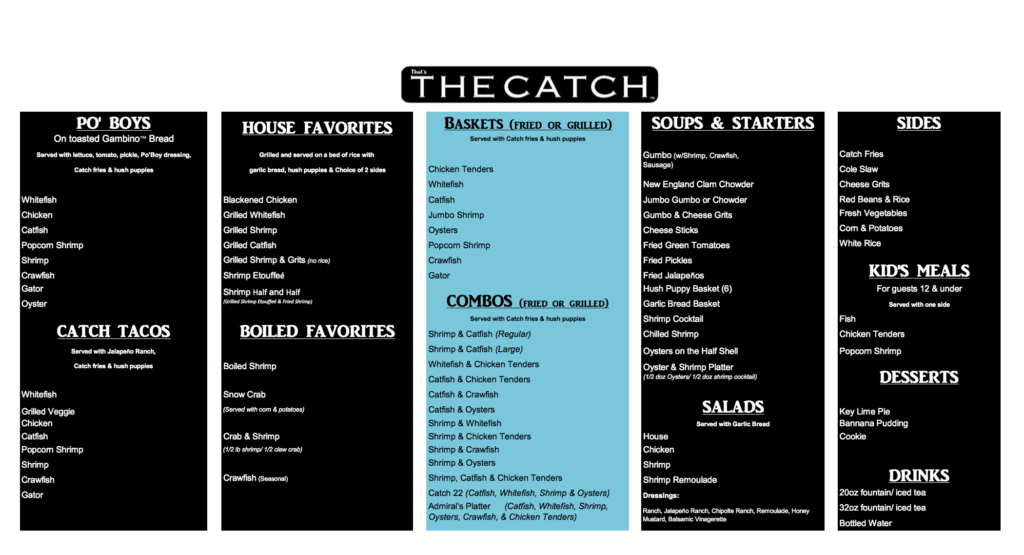 Our Menu | The Catch